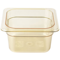 Cambro 64HP150 H-Pan 1/6 Size Amber High Heat Food Pan - 4 inch Deep