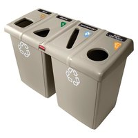 Rubbermaid 1792374 Glutton Beige Recycling Station - 92 Gallon