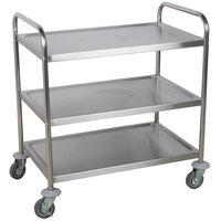 "Choice 33 3/4"" x 21"" x 37"" Knocked Down 18 Gauge Stainless Steel 3 Shelf Utility Cart"