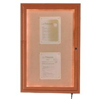 Aarco 24 inch x 18 inch Oak Finish Lighted Bulletin Board Cabinet