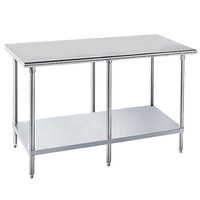 Advance Tabco GLG-3612 36 inch x 144 inch 14 Gauge Stainless Steel Work Table with Galvanized Undershelf