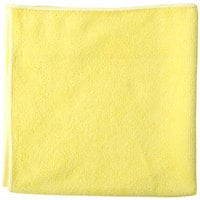 Unger MF40J SmartColor MicroWipe 16 inch x 15 inch Yellow Heavy-Duty Microfiber Cleaning Cloth