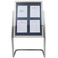 Aarco Chrome 25 inch x 48 inch Double Pedestal Poster Stand