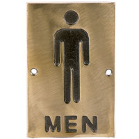 Tablecraft 465635 6 inch x 4 inch Bronze Men Sign