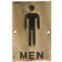 Tablecraft 465635 Men's Restroom Sign - Bronze, 6 inch x 4 inch