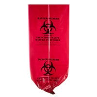 33 Gallon 33 inch x 40 inch Red Isolation Infectious Waste Bag / Biohazard Bag Linear Low Density 1.2 Mil - 100 / Case