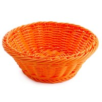 GET WB-1501-OR 9 1/2 inch x 3 1/2 inch Designer Polyweave Orange Round Basket - 12/Case