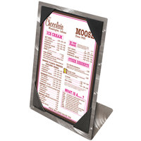 Menu Solutions MTPIX-57 Aluminum Menu Tent with Picture Corners - Swirl Finish - 5 inch x 7 inch