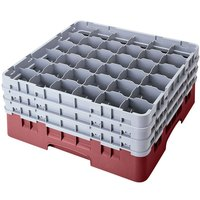 Cambro 36S1214163 Red Camrack 36 Compartment 12 5/8 inch Glass Rack