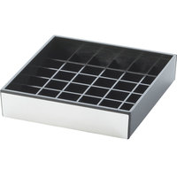 Cal-Mil 392-010 4 inch Silver and Black Square Drip Tray