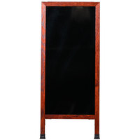 Aarco 42 inch x 18 inch Cherry A-Frame Sign Board with Black Marker Board