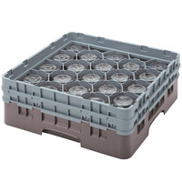 Cambro 20S800167 Camrack 8 1/2 inch High Brown 20 Compartment Glass Rack