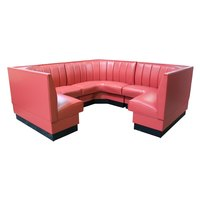 American Tables & Seating AS-366-1/2 6 Channel Back Upholstered Corner Booth 1/2 Circle - 36 inch High