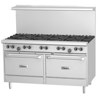 Garland G60-G60RR Natural Gas 60 inch Range with 60 inch Griddle and 2 Standard Ovens - 166,000 BTU