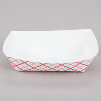 #40 6 oz. Red Check Paper Food Tray - 1000 / Case