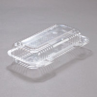 Dart Solo PET18UT1 StayLock 8 1/2 inch x 4 1/2 inch x 2 1/8 inch Clear Hinged PET Plastic Small Oblong Container - 250/Case
