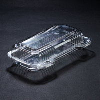 Dart Solo PET18UT1 StayLock 8 1/2 inch x 4 1/2 inch x 2 1/8 inch Clear Hinged PET Plastic Small Oblong Container - 250 / Case