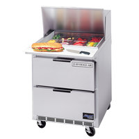 Beverage Air SPED27-B 27 inch Refrigerated Salad / Sandwich Prep Table with 2 Drawers