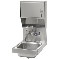 Advance Tabco 7-PS-84 Space Saving Hand Sink with Splash Mount Faucet, Soap, and Paper Towel Dispenser - 12 inch x 16 inch