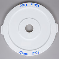 32 Gallon White Recycling Trash Can Lid with Hole