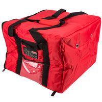Rubbermaid 9F38 ProServe 17 inch x 17 inch x 13 inch Red Insulated Medium Nylon Pizza / Catering / Sandwich Delivery Bag
