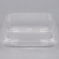 Durable Packaging PXT-880 8 inch x 8 inch x 3 inch Clear Hinged Lid Plastic Container - 125 / Pack