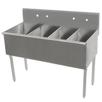 Advance Tabco 6-4-48 Four Compartment Stainless Steel Commercial Sink - 48 inch