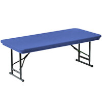 Correll R-Series RA3072S 30 inch x 72 inch Blue Plastic Adjustable Height Folding Table - Short Legs