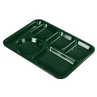 Carlisle 4398008 10 inch x 14 inch Forest Green Heavy Weight Melamine Left Hand 6 Compartment Tray
