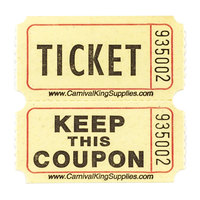Carnival King Yellow 2-Part Raffle Tickets - 2000 / Roll