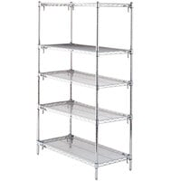 Metro 5A367C Stationary Super Erecta Adjustable 2 Series Chrome Wire Shelving Unit - 18 inch x 60 inch x 74 inch
