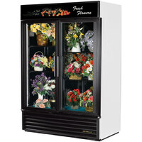 True GDM-49FC-LD White Two Door Glass Floral Case - 49 Cu. Ft.