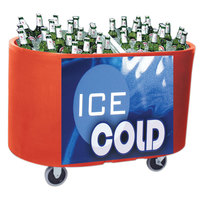 Red Texas Tanker 1060 Portable Insulated Ice Bin / Beverage Cooler / Merchandiser with Two Compartments 256 Qt.
