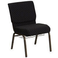 Black Dot Patterned 21 inch Extra Wide Church Chair with Communion Cup Book Rack - Gold Vein Frame