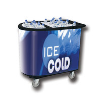Black Server Elite 5070 Portable Insulated Ice Bin / Beverage Cooler / Merchandiser with Two Compartments, Cash Drawer and Tray 108 Qt.
