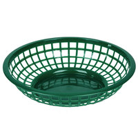 Green 8 inch Round Plastic Fast Food Basket - 12 / Case