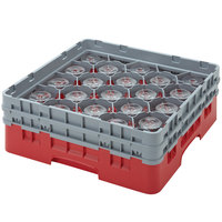 Cambro 20S318163 Camrack 3 5/8 inch High Red 20 Compartment Glass Rack