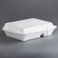 Genpak SN272 13 inch x 10 inch x 3 inch White Foam 2 Compartment Hinged Lid Container 200 / Case