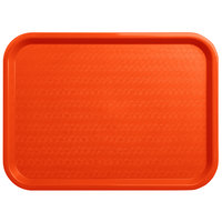 Carlisle CT121624 Customizable Cafe 12 inch x 16 inch Orange Standard Plastic Fast Food Tray - 24/Case