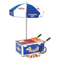 Nemco 6550-DW Blue Mini Hot Dog Cart with (2) 1/6 Pan and (2) 1/3 Pan Configuration - 120V, 1220W