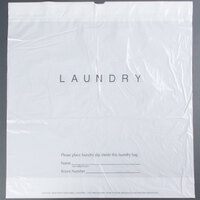 18 inch x 19 inch Plastic Hotel Laundry Bag with Drawstring - 100 / Pack