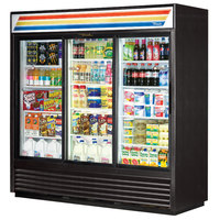 True GDM-69-LD 78 inch Three Section Sliding Glass Door Black Merchandising Refrigerator with LED Lighting - 69 Cu. Ft.