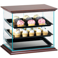 Cal-Mil 815-52A Westport Three Tier Wood Trim Display Case with Rear Door - 21 inch x 16 3/4 inch x 18 1/4 inch