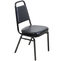 Lancaster Table & Seating Black Stackable Chair with 2 inch Padded Seat