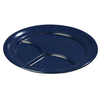 Carlisle 4351435 Dallas Ware 9 3/4 inch Cafe Blue Melamine 3-Compartment Plate - 36 / Case