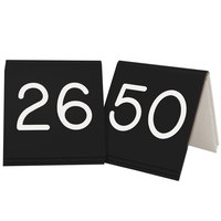 Cal-Mil 269B-2 Black Engraved Number Tent Sign Set 26-50 - 3 inch x 3 inch