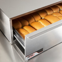 APW Wyott BWD-75N Dry Hot Dog Bun Warmer for HR-75 Series Hot Dog Roller Grills - Holds 32 Buns
