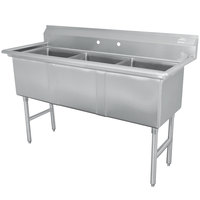 Advance Tabco FC-3-1515 Three Compartment Stainless Steel Commercial Sink - 50 inch