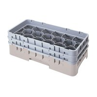 Cambro 17HS638184 Camrack 6 7/8 inch High Beige 17 Compartment Half Size Glass Rack