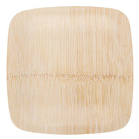 Bambu 063100 7 inch Disposable Square Bamboo Plate - 100 / Box